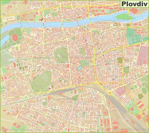 Large detailed map of Plovdiv